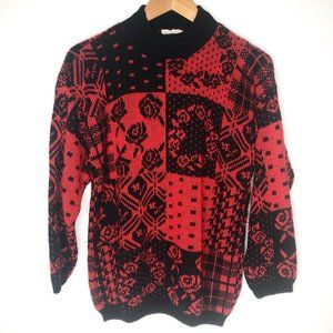 VTG Separate Issue 80s Red & Black Acrylic Sweater